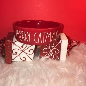 RAE DUNN RED MERRY CATMAS PET BOWL SMALL